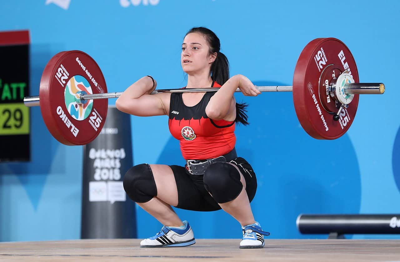 weightlifter demonstrating front squats through clean and jerk